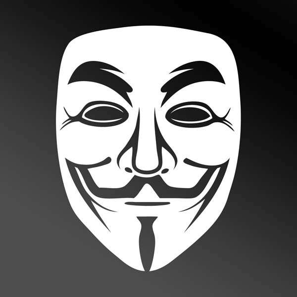 White Guy Fawkes Anonymous Mask Car Window Sticker ...