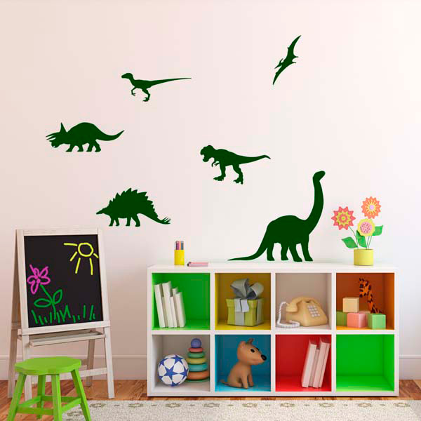 dinosaur silhouette wall stickers kids educational wall