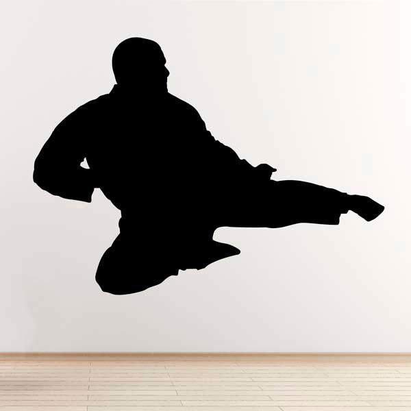 flying kick wall sticker taekwondo karate mixed