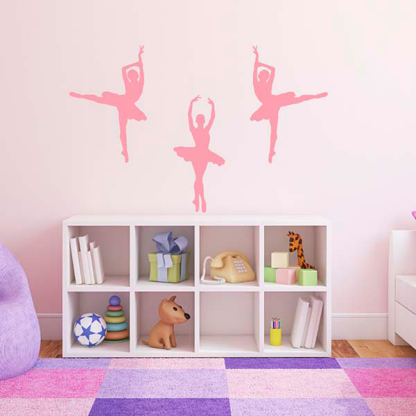 3 ballet dancer ballerina wall stickers several