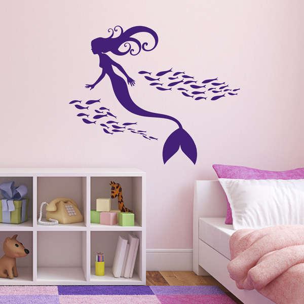 mermaid and shoal of fish wall sticker mermaid room mermaid holding shell wall sticker fantasy wall art