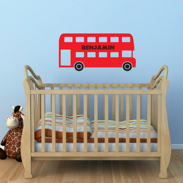 personalised red bus wall sticker boys name sticker