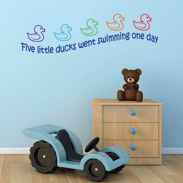 five little ducks nursery rhyme wall sticker educational lighthouse sailboats wall stickers wall decal kids room