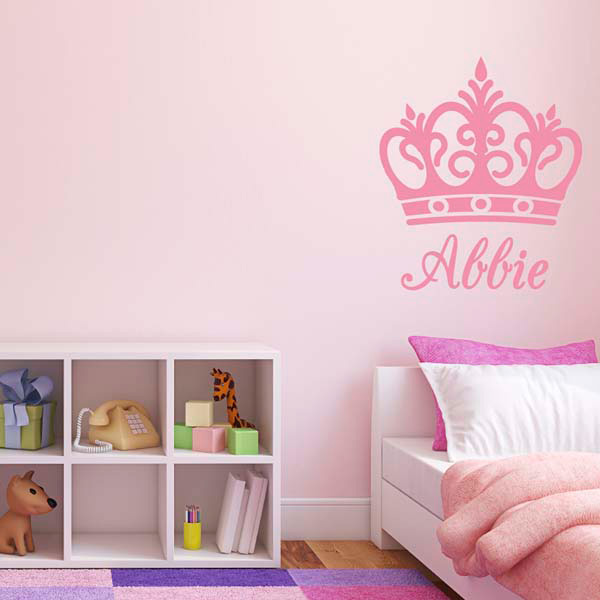 personalised name crown wall sticker girl bedroom name personalised sweet dreams nursery bedroom wall sticker