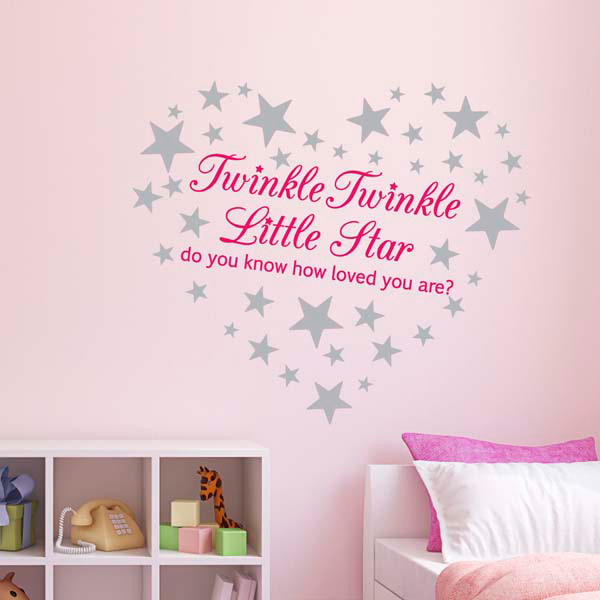 Pink Twinkle Twinkle Little Star Wall Sticker/ Nursery Decal /60 silver stars eBay
