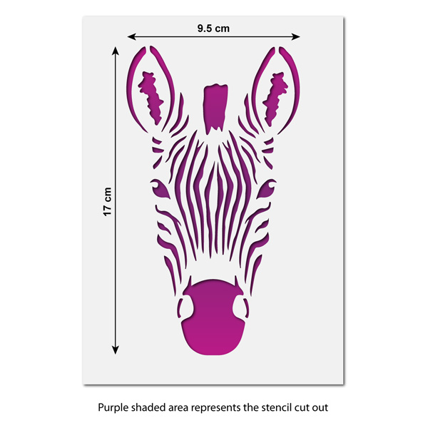 CraftStar Small Zebra Stencil - Reusable Zebra Face Stencil - 9.5 x ...