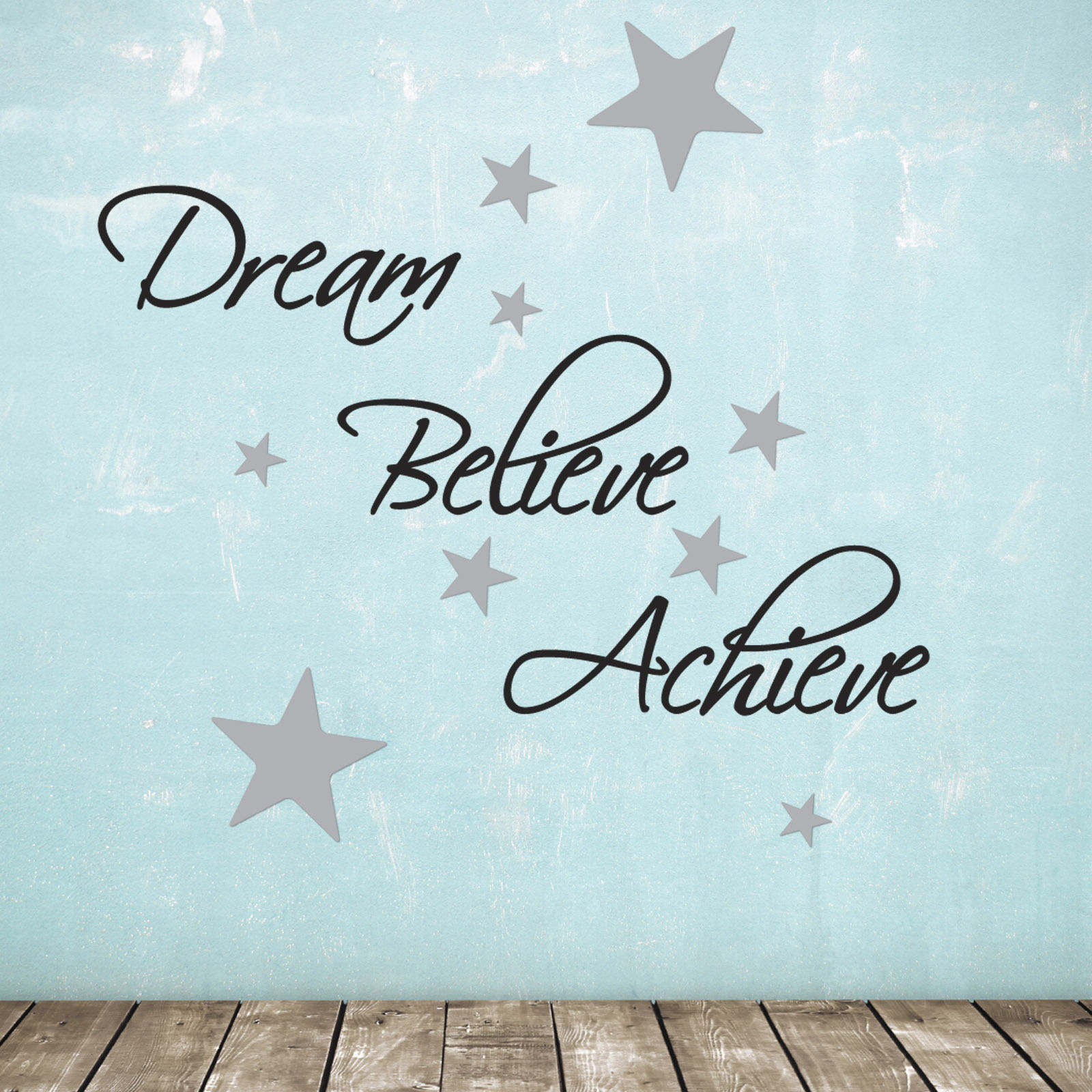 Writing Wall Art Stickers Dream Believe Achieve Wall Sticker Pack Includes 60