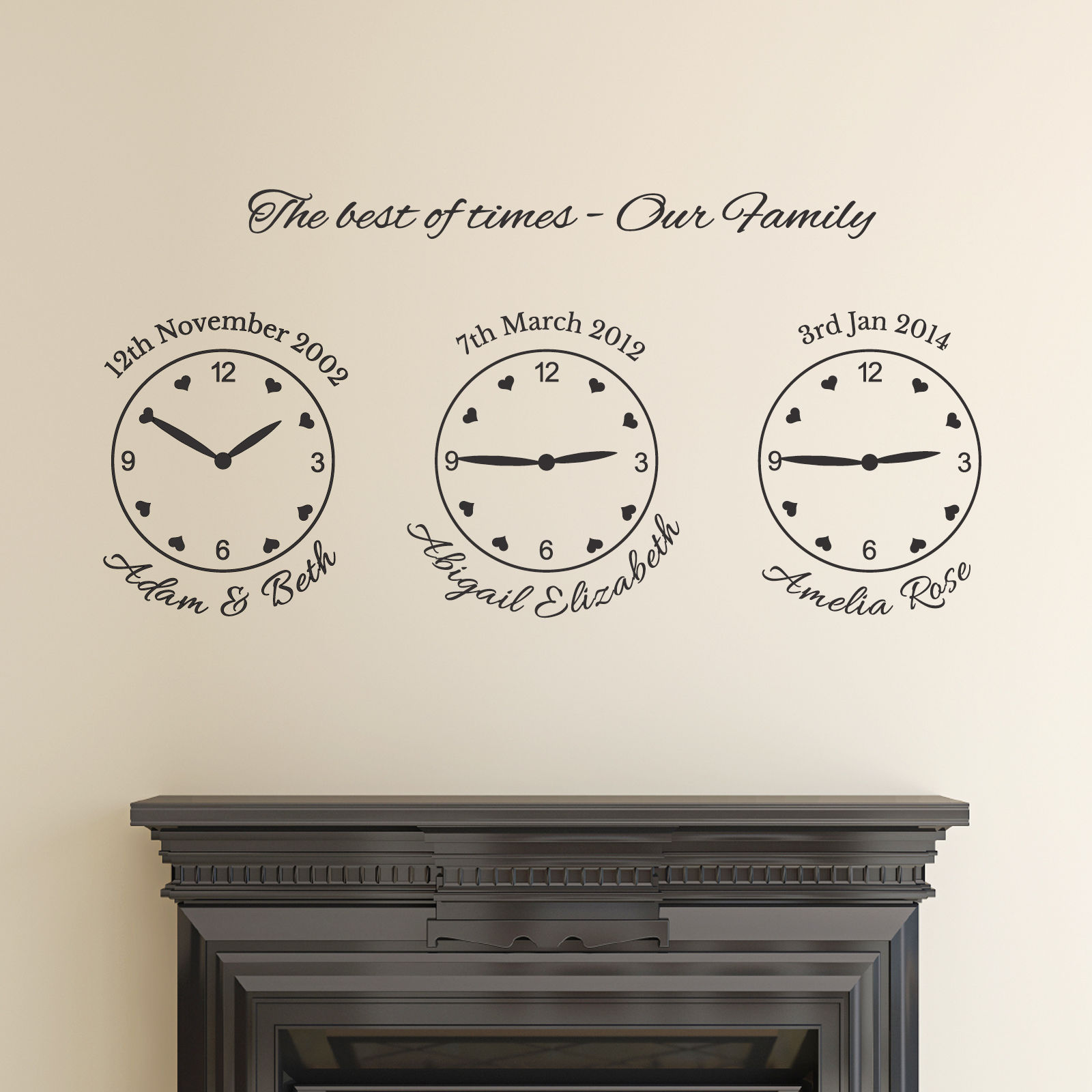 Our Family Wall Sticker Name Date And Time Wall Decal