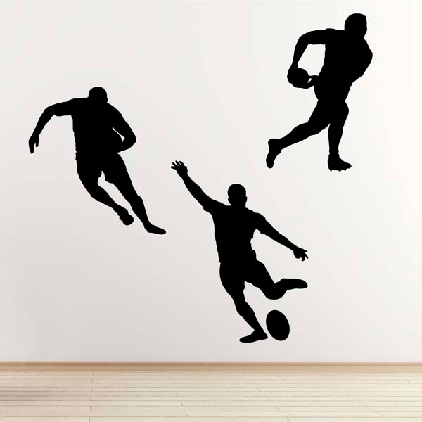 Rugby Player Wall Stickers 3 Pack Sports Silhouette Wall Art Stickers Ebay